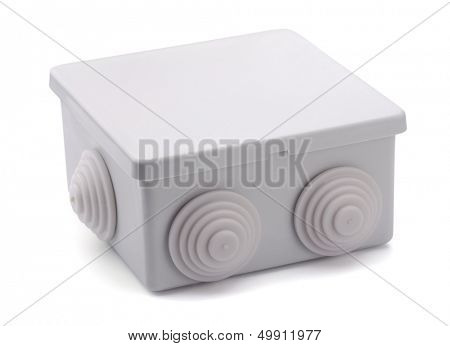 Grey plastic electrical junction box isolated on white