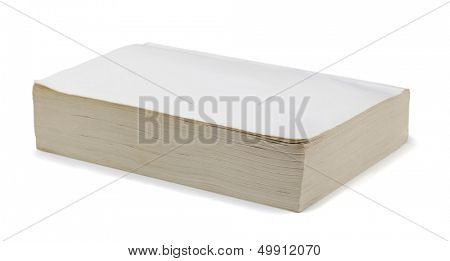 Old blank paperback book isolated on white