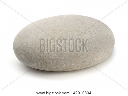Single grey pebble isolated on white