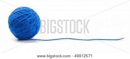 Blue knitting yarn clew isolated on white