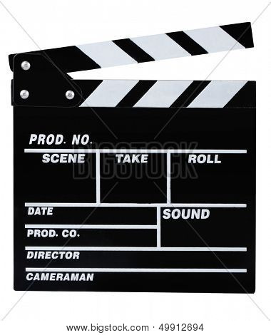 Classic black movie clapper board isolated on white
