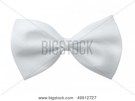 White silk bow tie isolated on white