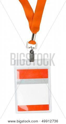 Id plastic badge holder with orange lace isolated on white