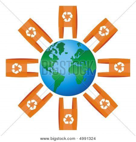 Mundo icono redondeado para bolsas con el símbolo del reciclaje