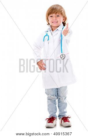 Happy young doctor with thumbs up - isolated over white background