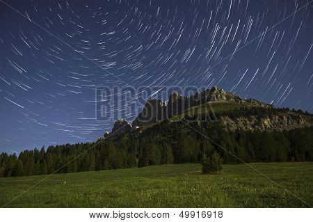 Catinaccio And Star Trails At The Moonlight, Karerpass - Dolomiti