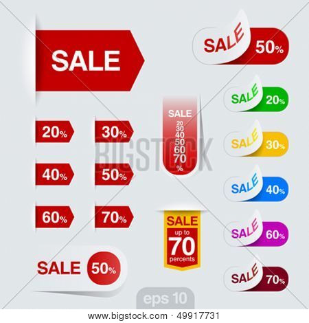 Sales badge, ribbon, sticker vector design template. Discount sale collection. Retail toolkit.