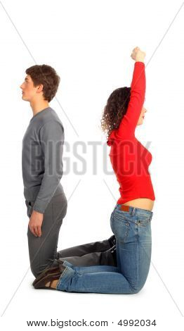Young Man And Woman Represents  Letter U