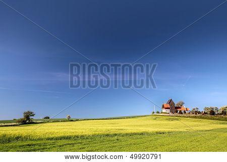 Green Fields By The Ruts Kirke Church On Bornholm