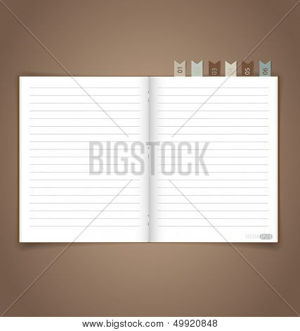 Notebook with reminder note. Vector EPS10