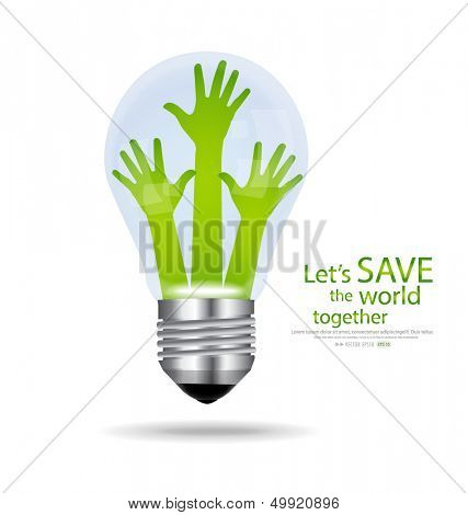Save the world, Light bulb with hands inside. Vector illustration.