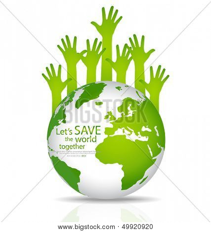 Save the world, Globe with hands. Vector illustration.