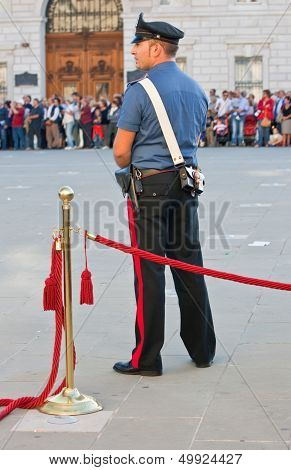 Italian Policeman During A Celebration