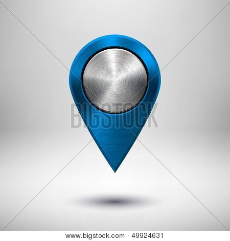 Technology Map Pointer with Blue Metal Texture