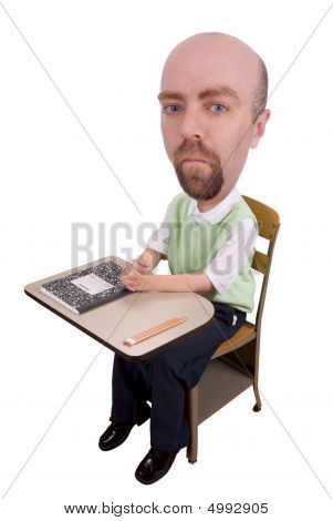 Man At School Desk