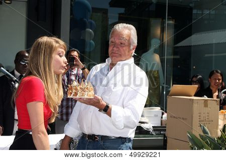 LOS ANGELES - AUG 23:  Kim Matula, John McCook celebrating Kim's birthday at the Bold and Beautiful Fan Meet and Greet at the Farmers Market on August 23, 2013 in Los Angeles, CA