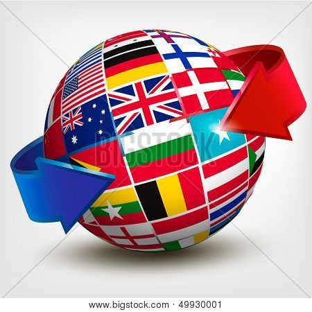 Flags of the world in globe with an arrow. Vector illustration