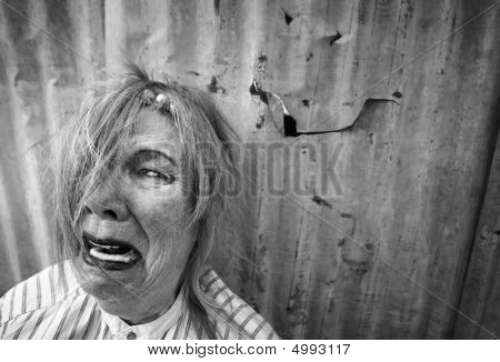 Homeless Woman Crying