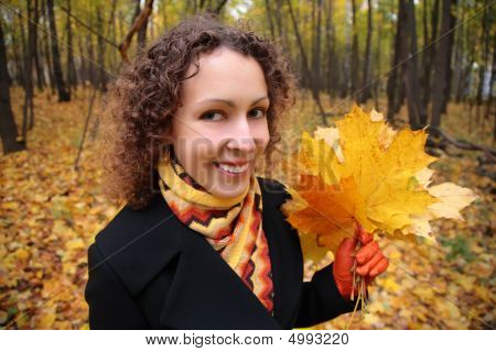 Young Woman In Park In Autumn With Yellow Leaves