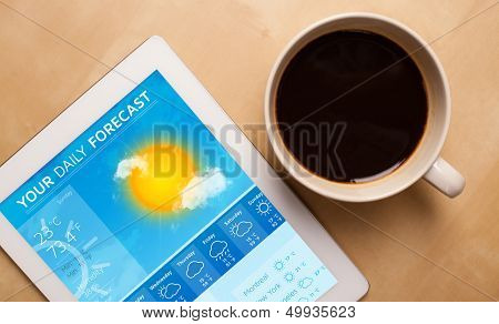 Workplace with tablet pc showing weather forecast and a cup of coffee on a wooden work table close-up