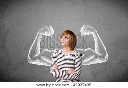 Muito jovem, com braços fortes e musculosos esboçados