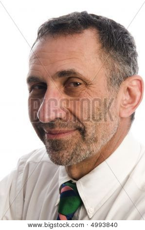 Executive Corporate Manager Middle Age Senior Man Laughing Smiling Confident Pose White Background