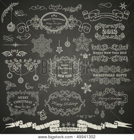 Christmas design elements on chalkboard