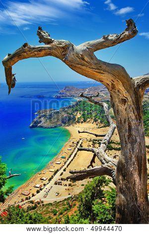 amazing Greece series. Rhodes island, view of Tsambika bay