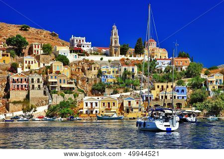 beautiful colorful Symi island, Dodecanese