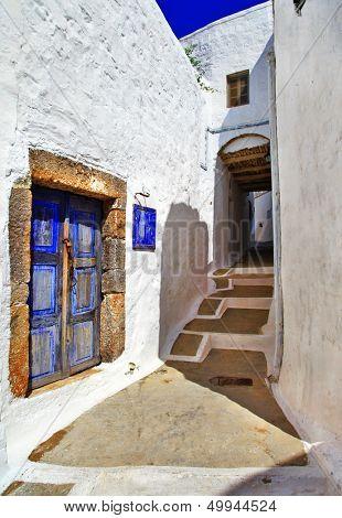 traditional greek streets. Patmos island