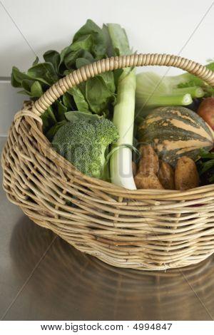 Winter Produce, Fresh Vegetables In Basket