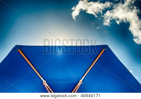 Blue Sunshade Against Blue Sky