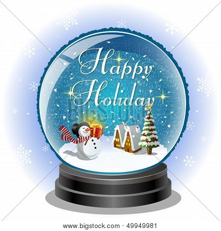 Snowman Holding A Gift Box In Snow Globe