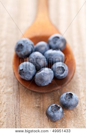 Blueberries In Wooden Scoop