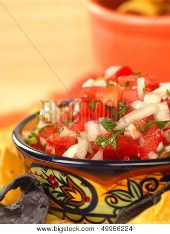 Fresh pico de gallo salsa with tortilla chips