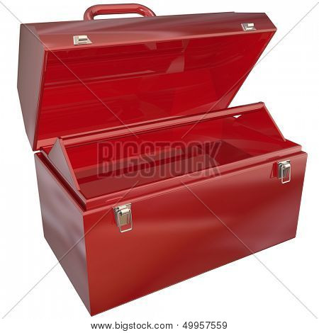 An empty red metal toolbox where you can place text or tools for a message or to show a special picture inside