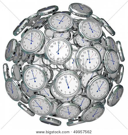 Many clocks in a ball or sphere to illustrate the keeping or passing of time in the past, present and future, or urgency or immediacy of doing something now before a deadline