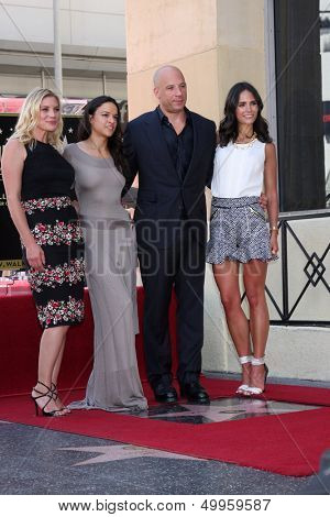 SLOS ANGELES - AUG 26:  Katee Sackhoff, MichelleRodguez, Vin Diesel, Jordana Brewster at the Vin DIesel Walk of Fame Star Ceremony at the Roosevelt Hotel on August 26, 2013 in Los Angeles, CA