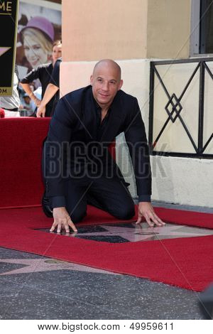 LOS ANGELES - AUG 26:  Vin Diesel at the Vin DIesel Walk of Fame Star Ceremony at the Roosevelt Hotel on August 26, 2013 in Los Angeles, CA
