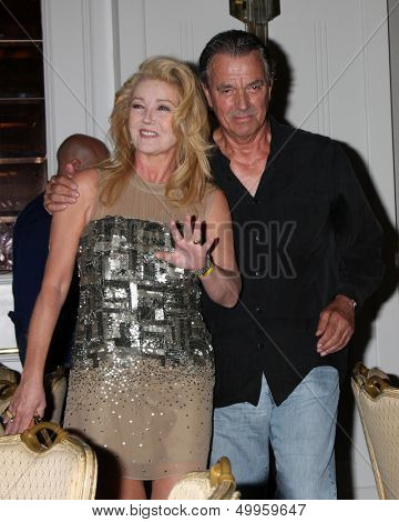 LOS ANGELES - AUG 24:  Melody Thomas Scott, Eric Braeden at the Young & Restless Fan Club Dinner at the Universal Sheraton Hotel on August 24, 2013 in Los Angeles, CA