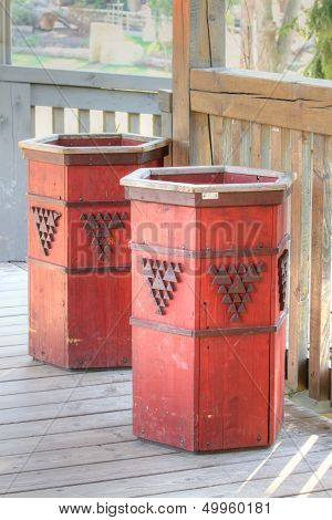 Wooden Trash Can