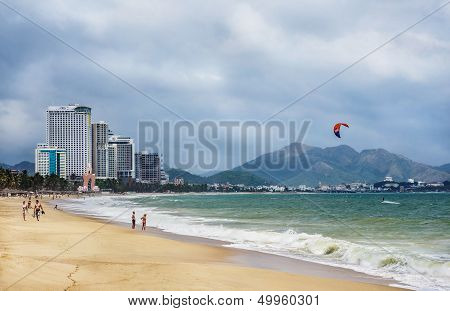 Nha Trang, Vietnam - circa March 20013: View Of The City Beach And Hotels In Vietnam, March 2013.