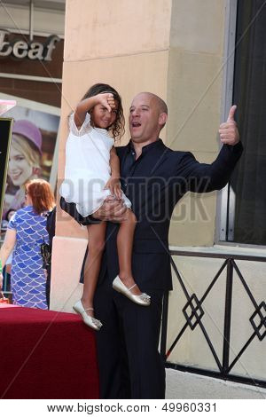 SLOS ANGELES - AUG 26:  Hania Riley, Vin Diesel at the Vin DIesel Walk of Fame Star Ceremony at the Roosevelt Hotel on August 26, 2013 in Los Angeles, CA