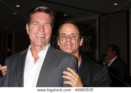 LOS ANGELES - AUG 24:  Peter Bergman, Christian LeBlanc at the Young & Restless Fan Club Dinner at the Universal Sheraton Hotel on August 24, 2013 in Los Angeles, CA