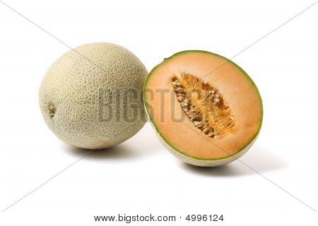 Whole And Half Cantaloupe Melon