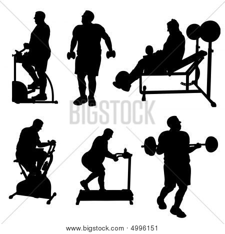 Large Man Excercise Silhouettes