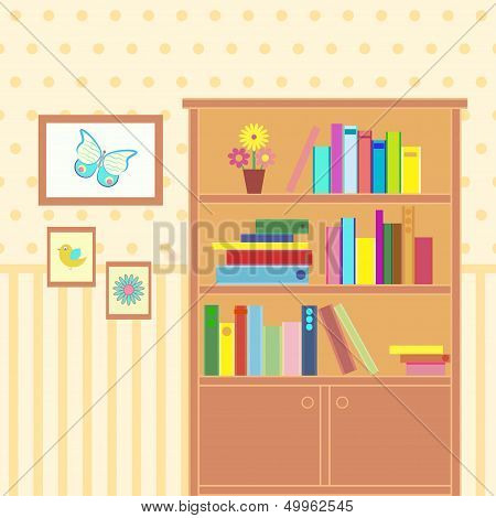 room with bookcase