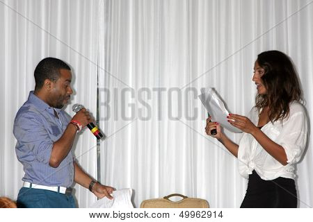 LOS ANGELES - AUG 25:  Fan, Christel Khalil; doing a scene from a YnR script at the Goddard and Khalil Fan Event at the Universal Sheraton Hotel on August 25, 2013 in Los Angeles, CA
