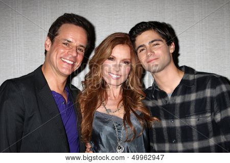 LOS ANGELES - AUG 24:  Christian LeBlanc, Tracey Bregman, Max Ehrich at the Young & Restless Fan Club Dinner at the Universal Sheraton Hotel on August 24, 2013 in Los Angeles, CA