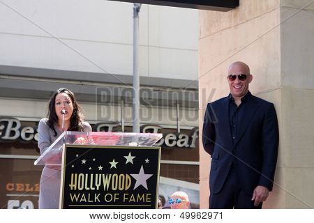 LOS ANGELES - AUG 26:  Michelle Rodriquez, Vin Diesel at the Vin DIesel Walk of Fame Star Ceremony at the Roosevelt Hotel on August 26, 2013 in Los Angeles, CA